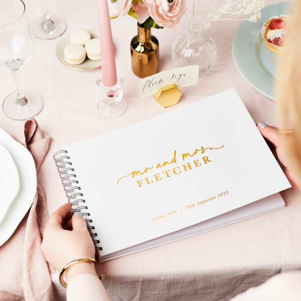 Martha Brook Personalised Stylish Wedding Guest Book White and Gold