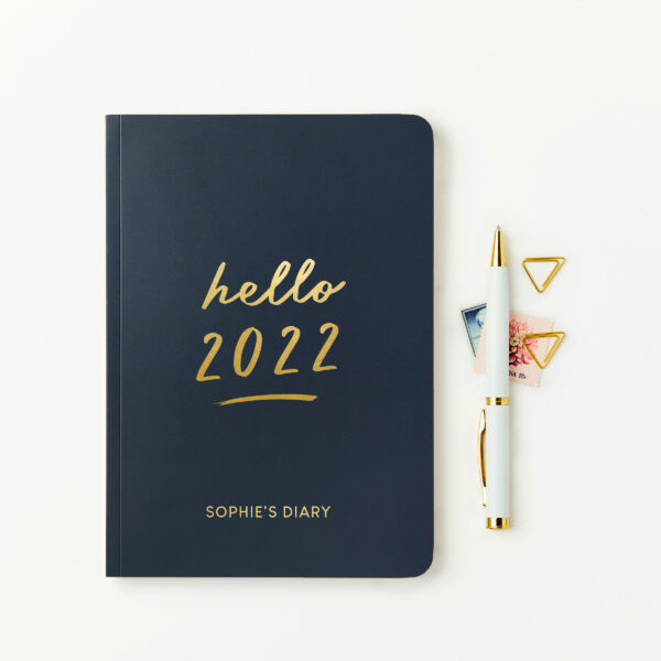 Personalised Hello 2022 Weekly Diary