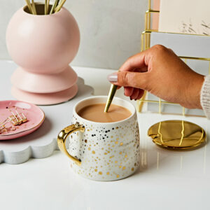 Gold Speckled White Mug With Spoon And Lid