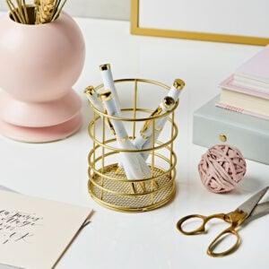 Gold Wire Round Pen Pot